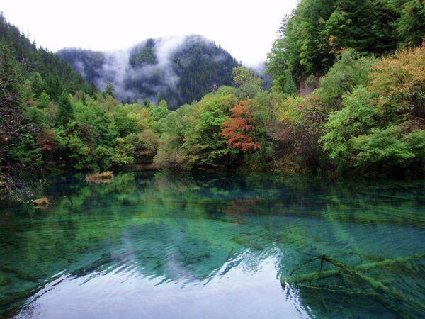El Parque Nacional Jiuzhaigou, en China, es conocido por sus increíbles lagos y cataratas, así como por sus hermosos picos nevados. Jiuzhaigou es tanto Patrimonio de la Humanidad por la Unesco como Reserva Mundial de la Biosfera. - Sputnik Mundo