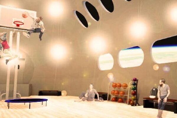 Un gimnasio del hotel espacial Voyager Station - Sputnik Mundo