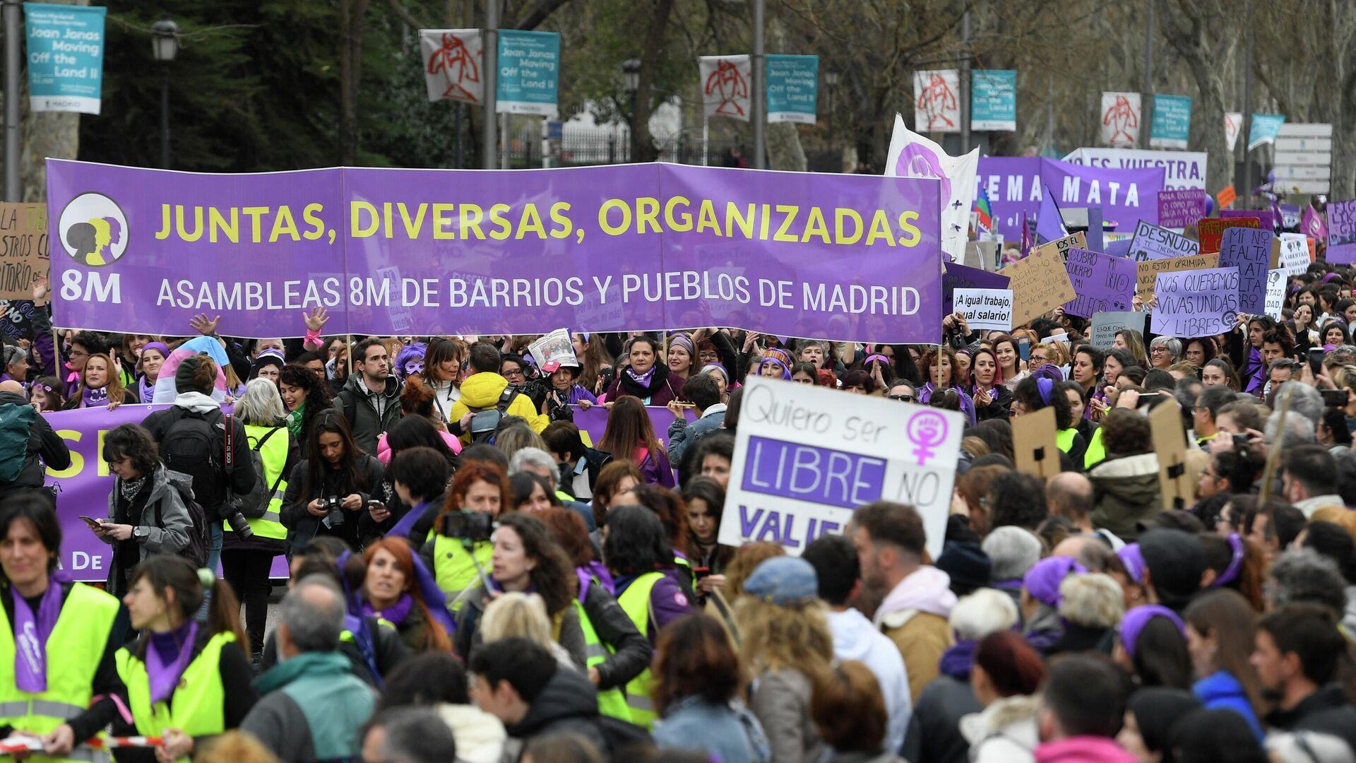 Manifestación del 8M en Madrid - Sputnik Mundo, 1920, 08.03.2021