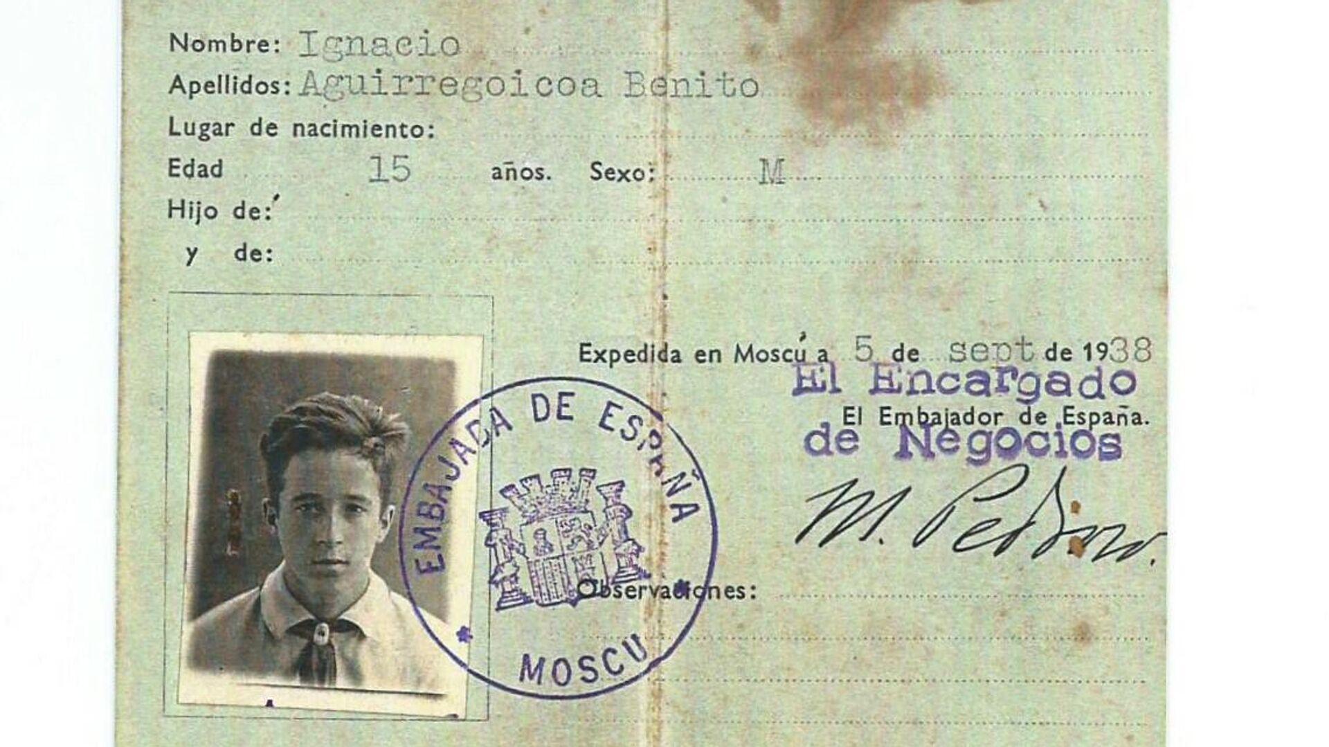Carta de Identidad de Ignacio Aguirregoicoa - Sputnik Mundo, 1920, 09.03.2021