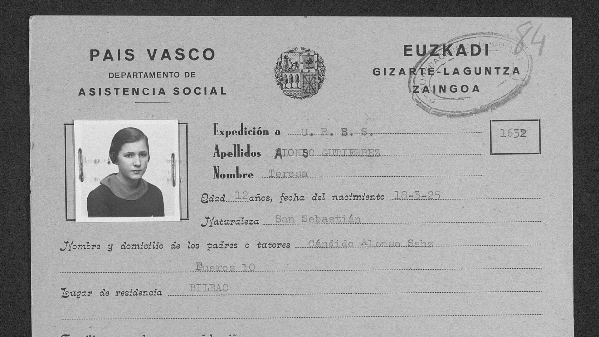 Tarjeta de Identidad de Teresa Alonso - Sputnik Mundo, 1920, 08.03.2021