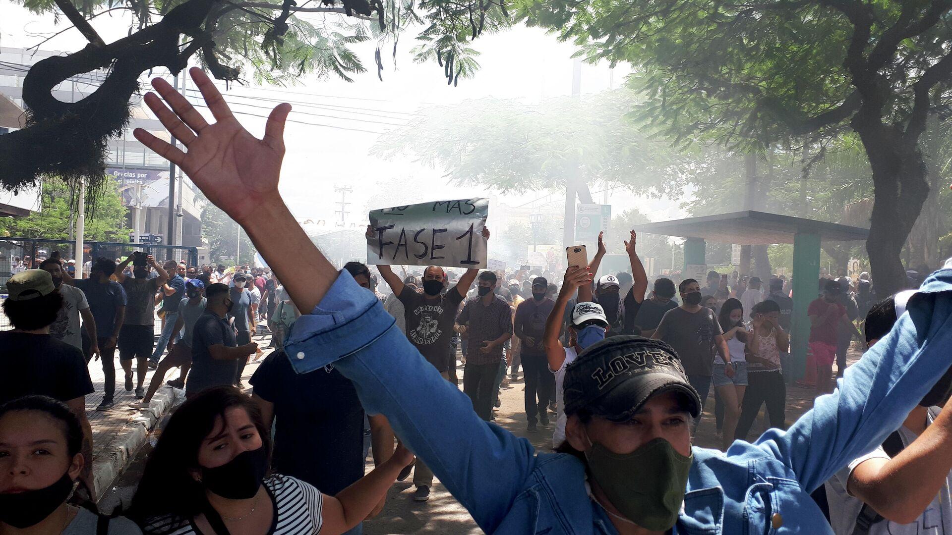 Manifestantes protestan contra el retorno a la 'fase 1' de respuesta a la pandemia en la provincia argentina de Formosa - Sputnik Mundo, 1920, 08.03.2021
