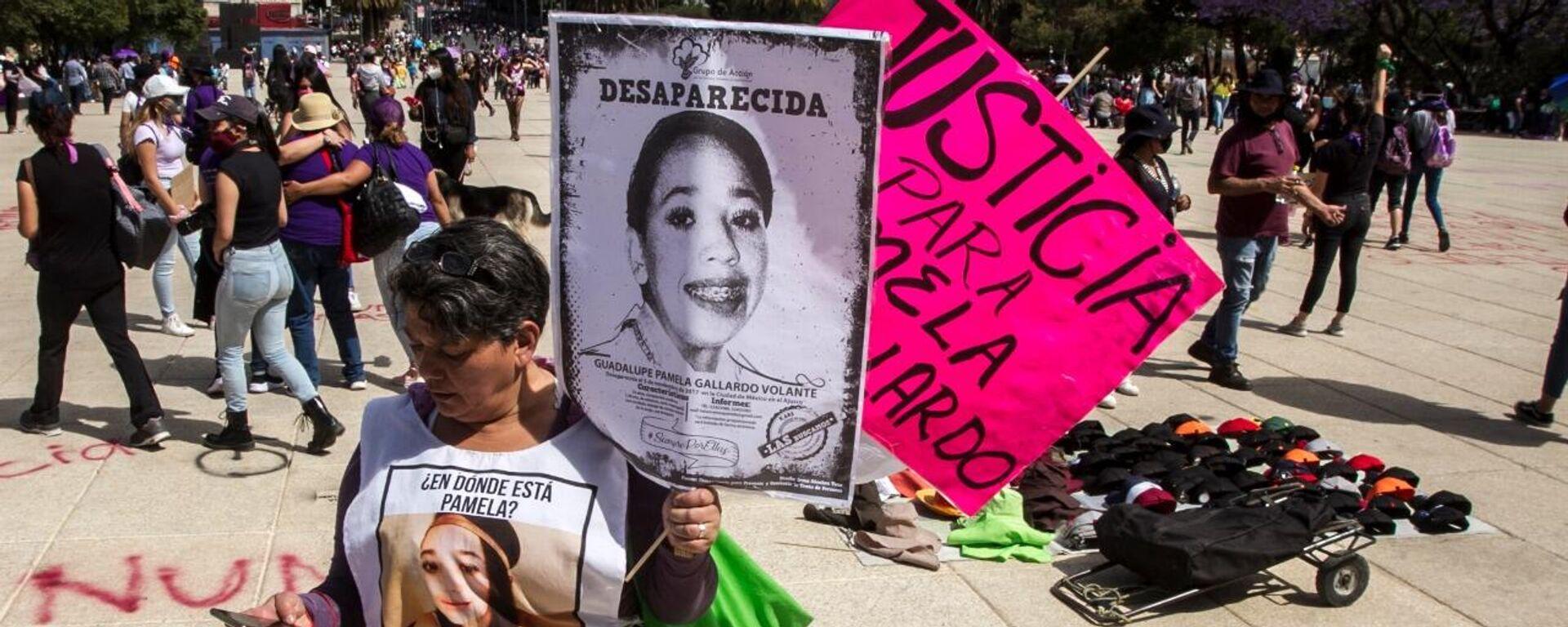 María del Carmen Volante durante la marcha del 8 de marzo del 2021 en la Ciudad de México - Sputnik Mundo, 1920, 09.03.2021