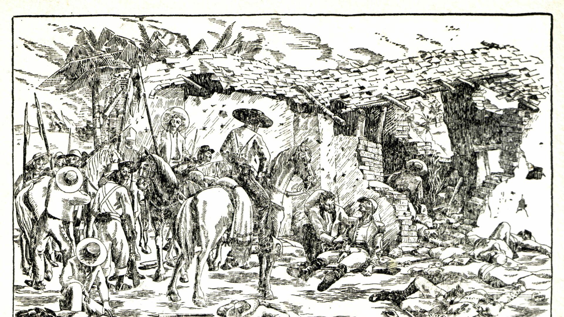 Un postal que representa una escena tras la batalla de Camarón - Sputnik Mundo, 1920, 10.03.2021