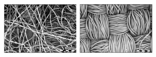 Por lo tanto, no hay que dudar de la fiabilidad de las mascarillas de protección, pero es necesario utilizarlas correctamente, o sea cambiarlas cada 2-3 horas, ya que, a no ser así, los microbios acumulados en la mascarilla pueden perjudicar la salud. En la foto: Las fibras de las mascarillas de algodón y viscosa bajo el microscopio. - Sputnik Mundo