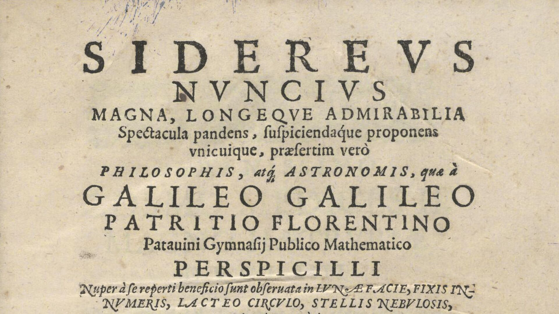 La primera página del tratado Sidereus Nuncius (Mensajero de las estrellas), escrito por Galileo Galilei - Sputnik Mundo, 1920, 14.03.2021