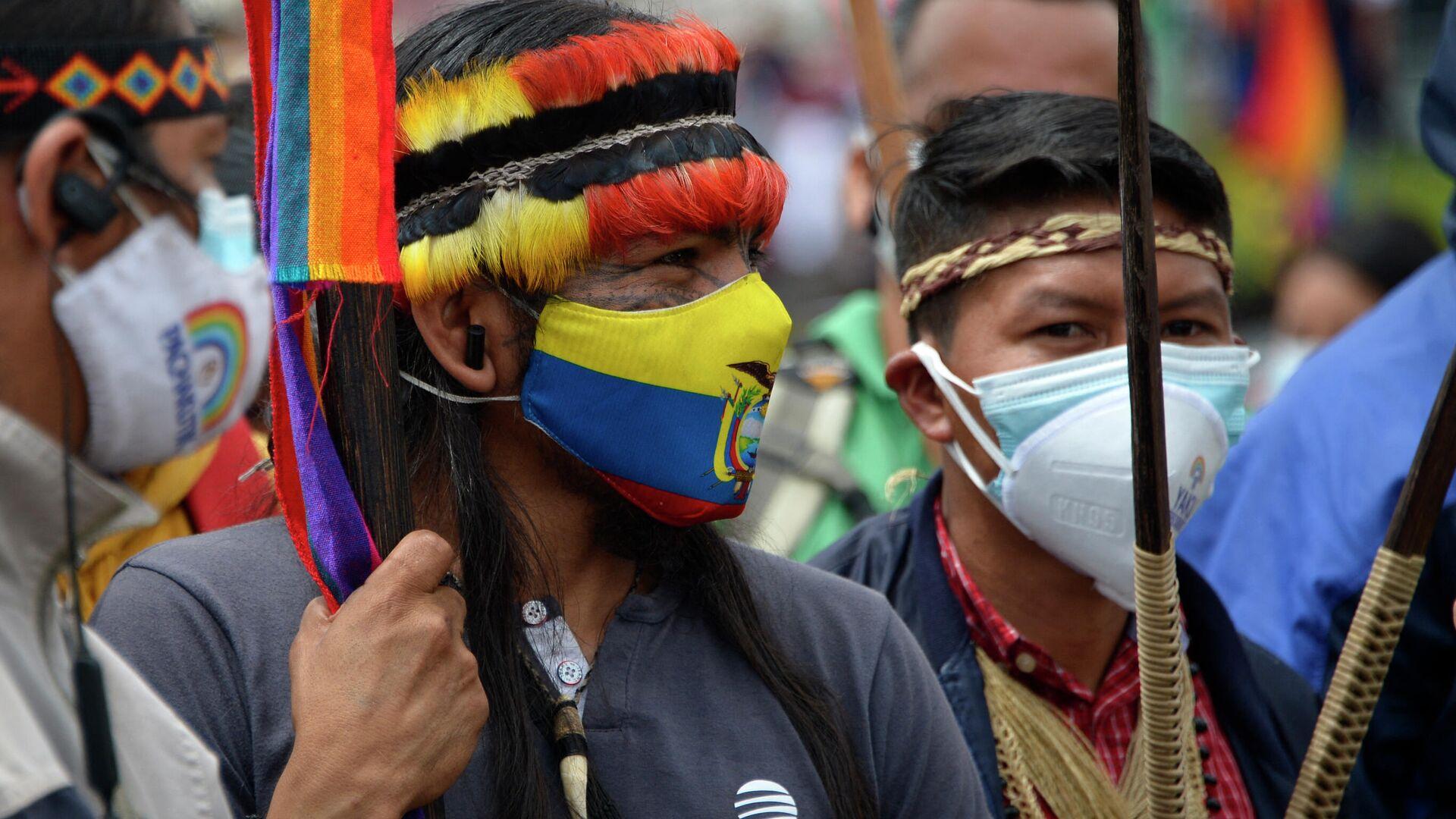 Indígenas ecuatorianos simpatizantes del movimiento político Pachakutik - Sputnik Mundo, 1920, 15.03.2021