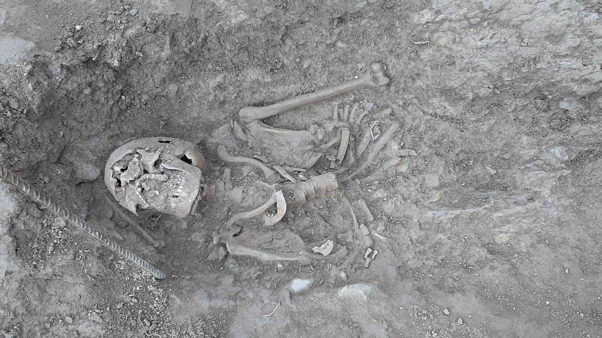 Uno de los esqueletos hallados bajo la piscina del Castillo de Berga - Sputnik Mundo, 1920, 16.03.2021