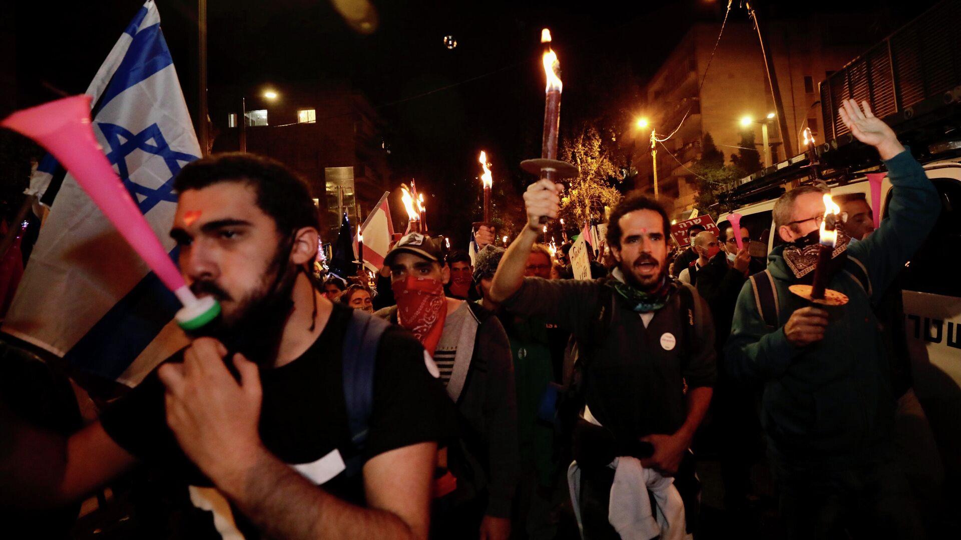 Una protesta antigubernamental en Jerusalén, foto de archivo - Sputnik Mundo, 1920, 20.03.2021