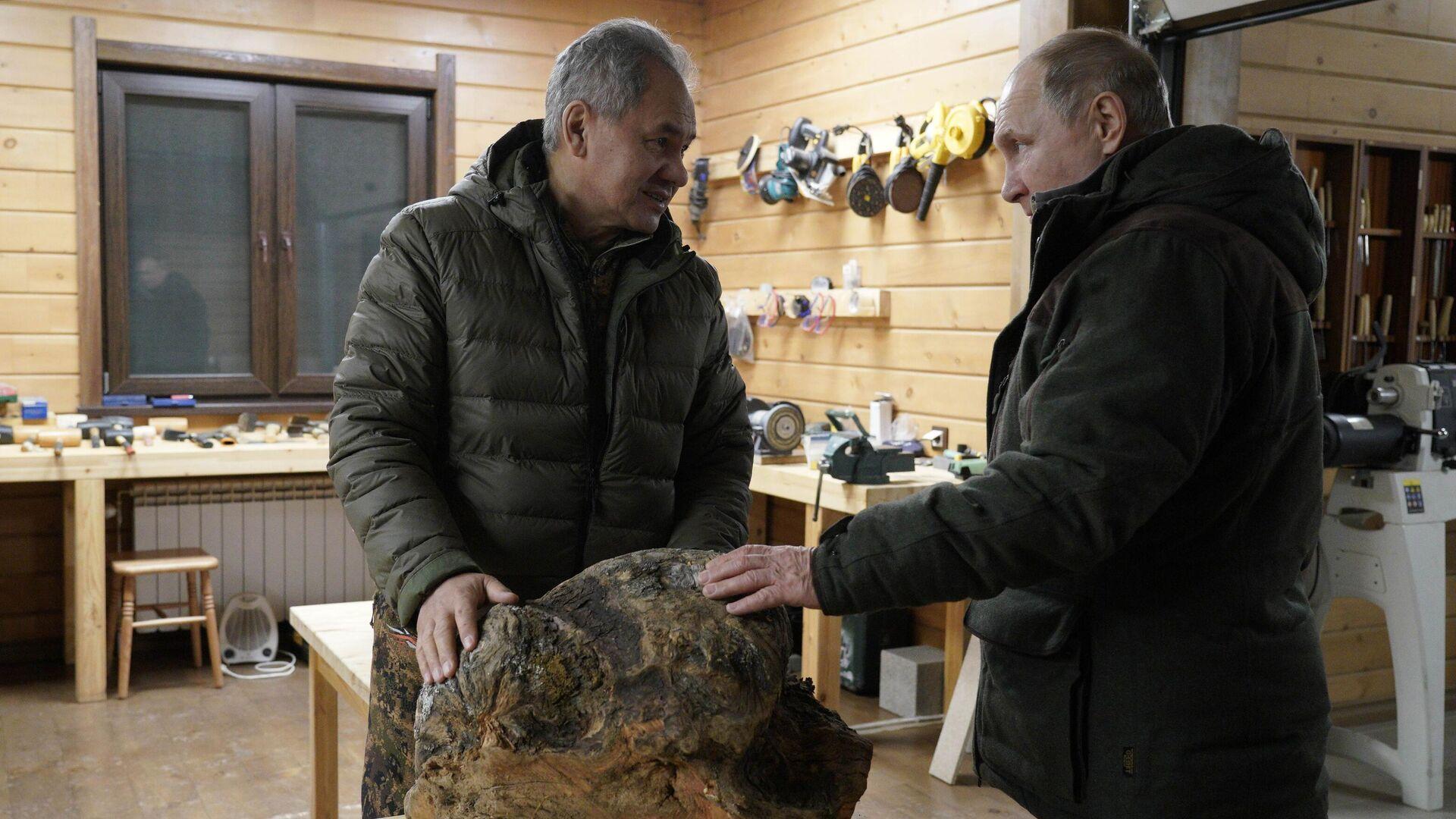 El ministro de Defensa ruso, Serguéi Shoigú, y el presidente de Rusia, Vladímir Putin, descansando en la taiga, el 21 de marzo de 2021 - Sputnik Mundo, 1920, 21.03.2021