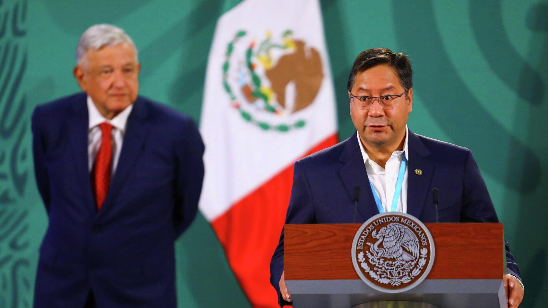 El presidente de México, Andrés Manuel López Obrador, y su homólogo de Bolivia, Luis Arce  - Sputnik Mundo, 1920, 25.03.2021