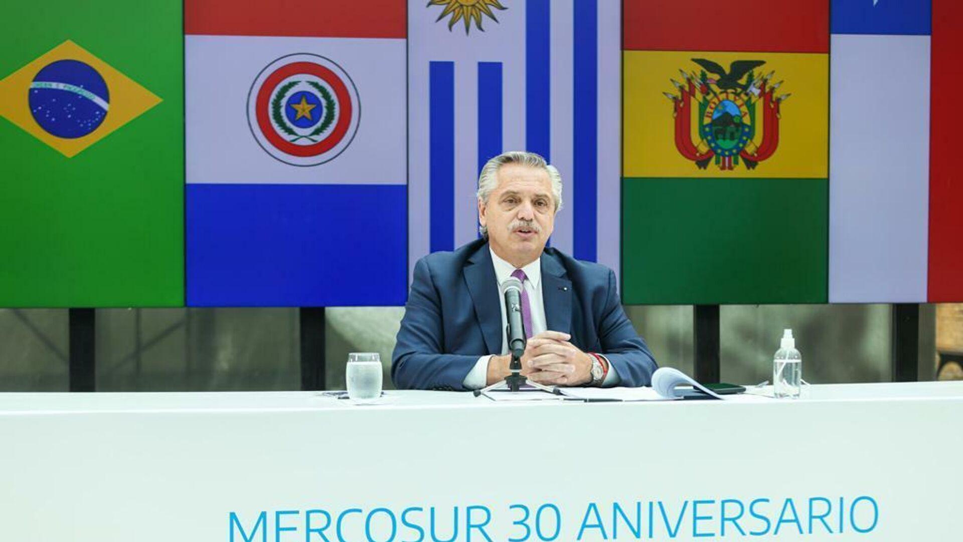 Alberto Fernández, el presidente argentino, durante una reunión virtual para conmemorar el 30 aniversario del Mercosur - Sputnik Mundo, 1920, 08.07.2021