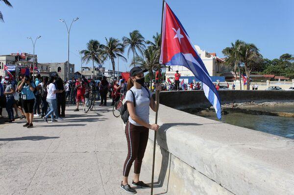 Manifestación contra el bloqueo de EEUU a Cuba en La Habana - Sputnik Mundo