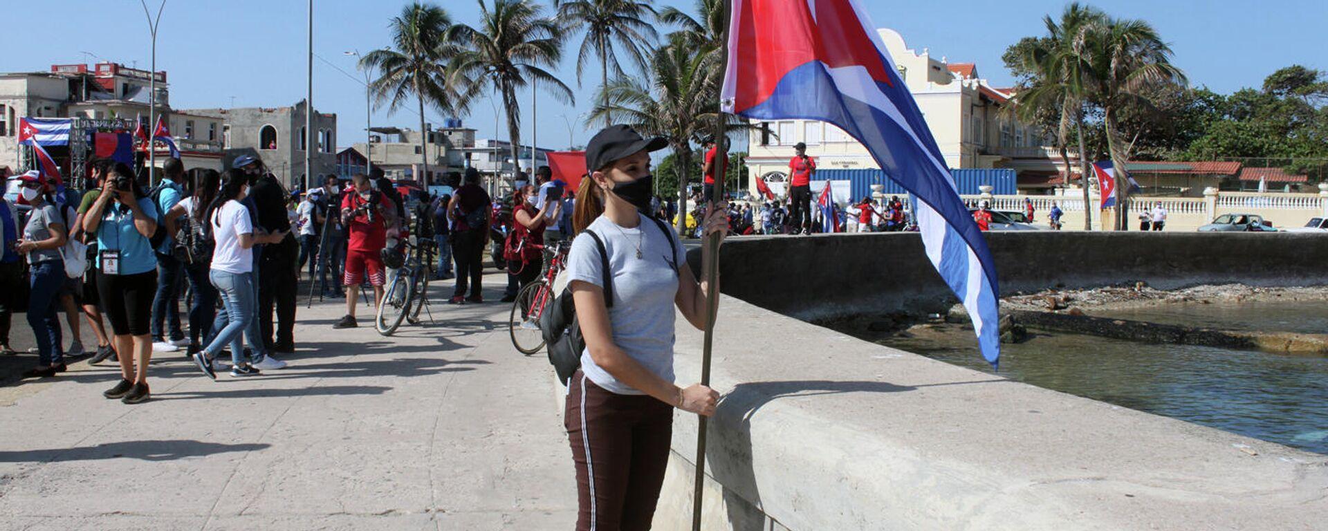 Manifestación contra el bloqueo de EEUU a Cuba en La Habana - Sputnik Mundo, 1920, 25.05.2021