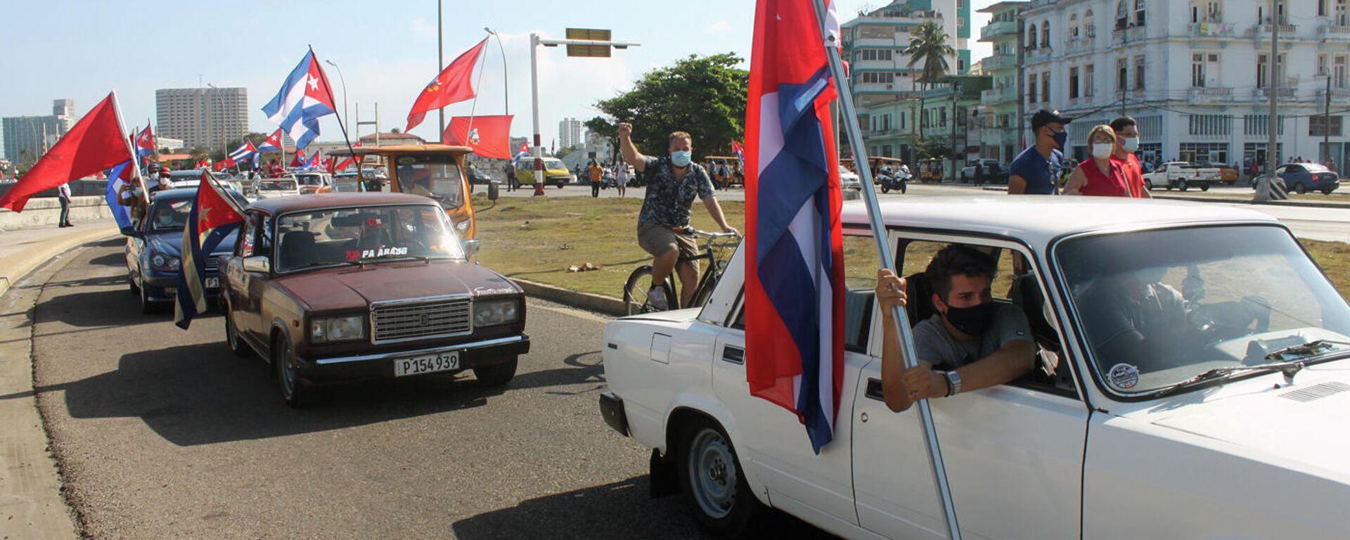 Manifestación contra el bloqueo de EEUU a Cuba en La Habana - Sputnik Mundo, 1920, 06.04.2021