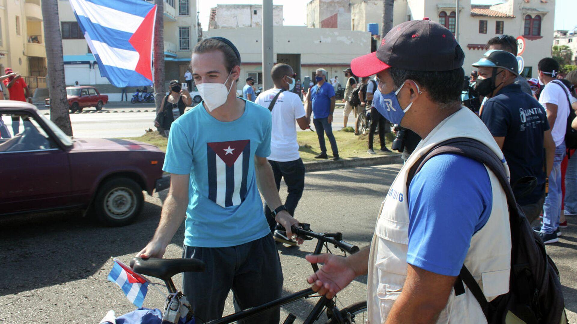 Manifestación contra el bloqueo de EEUU a Cuba en La Habana - Sputnik Mundo, 1920, 20.05.2021