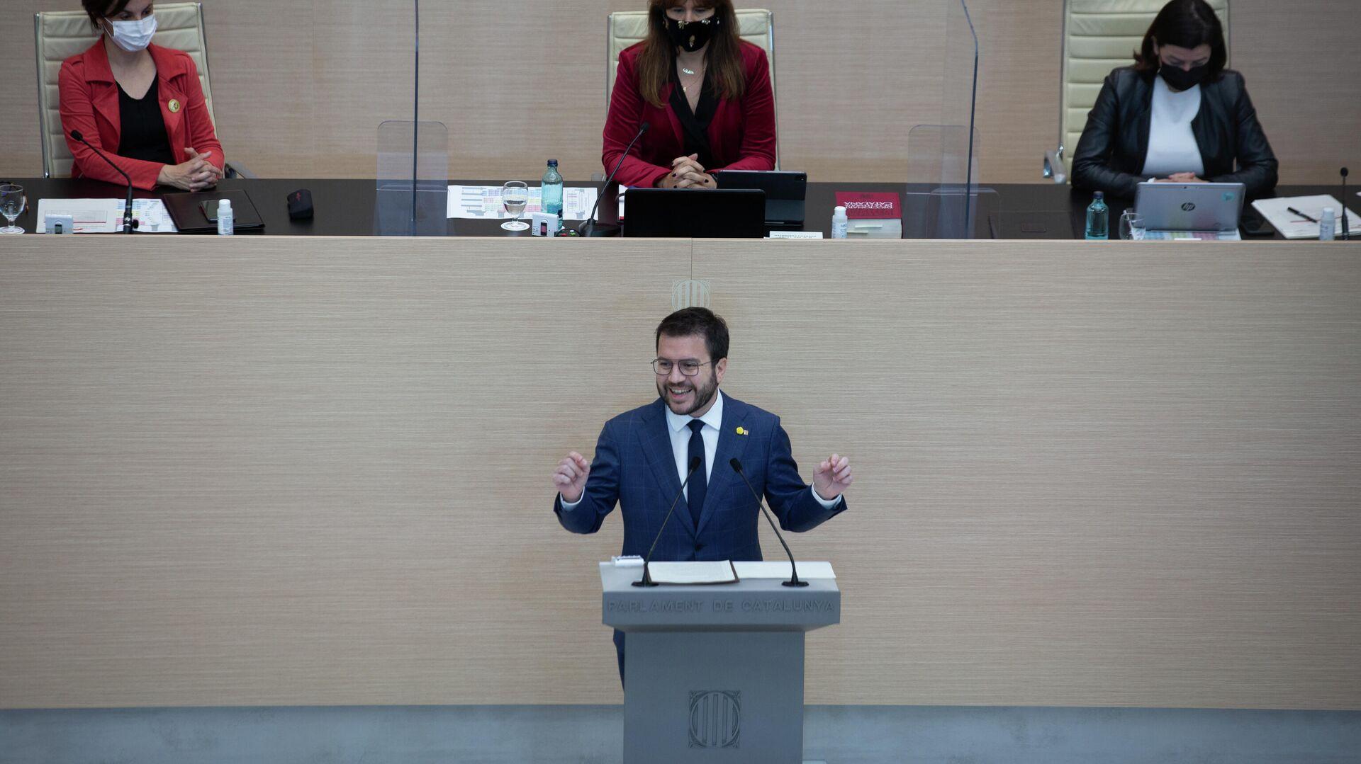 El vicepresidente de la Generalitat en funciones y candidato de ERC a la Presidencia, Pere Aragonès, en la segunda sesión del debate de investidura a la presidencia de la Generalitat de Catalunya - Sputnik Mundo, 1920, 30.03.2021