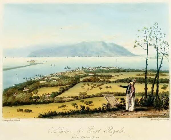 Port Royal, en Jamaica, era un refugio para los piratas y ladrones que saqueaban las costas españolas. Durante su apogeo, Port Royal albergaba a unas 7.000 personas, un tercio de las cuales eran piratas. Un terremoto en 1692 destruyó gran parte de la ciudad, matando a dos tercios de la población, pero Port Royal fue reconstruida. Sin embargo, una serie de incendios y tormentas destructivas obligaron a los habitantes a abandonar la ciudad para siempre, que fue llamada la Sodoma del Nuevo Mundo. En la foto: La vista de Kingston y Port Royal desde Windsor Farm, de Un pintoresco recorrido por la isla de Jamaica, grabado por Thomas Sutherland, 1825. - Sputnik Mundo