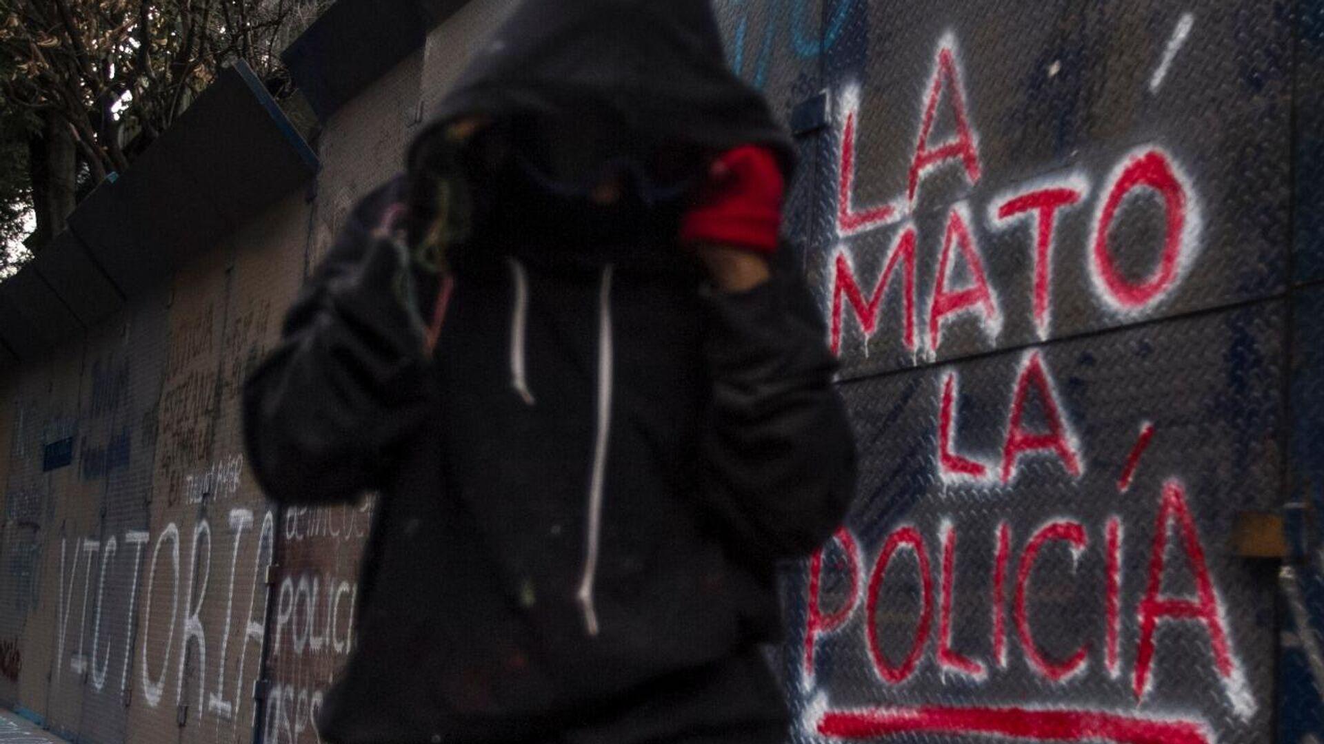 Manifestación por el feminicidio de Victoria Salazar en la representación de Quintana Roo en la Ciudad de México, 29 de marzo de 2021. - Sputnik Mundo, 1920, 30.03.2021