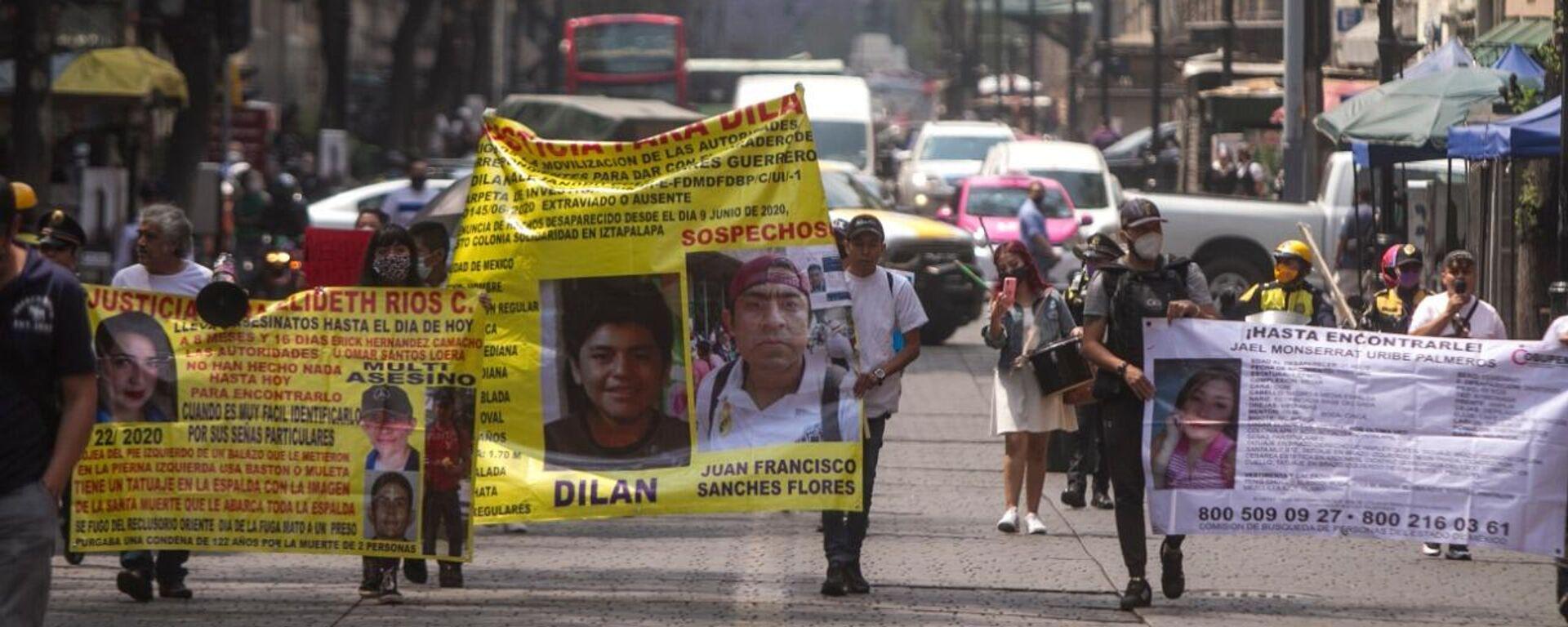 Manifestación hacia la sede de Gobierno capitalina exigiendo Justicia y búsqueda para las personas desaparecidas en la capital mexicana - Sputnik Mundo, 1920, 31.03.2021