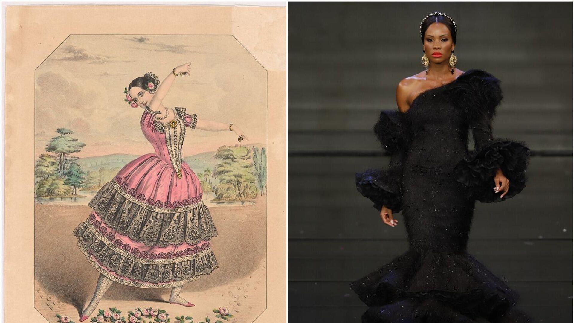 A la izquierda: Obra de Fanny Elssler de 1836 que ensalza la tradición flamenca, a la derecha: Desfile de 2020 de F de Frank - Sputnik Mundo, 1920, 01.04.2021
