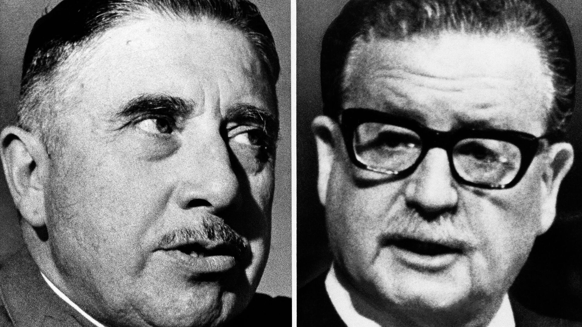 El general Augusto Pinochet, jefe de las Fuerzas Armadas del Chile y Salvador Allende, presidente del país, derrocado a raíz de un golpe de Estado - Sputnik Mundo, 1920, 03.04.2021
