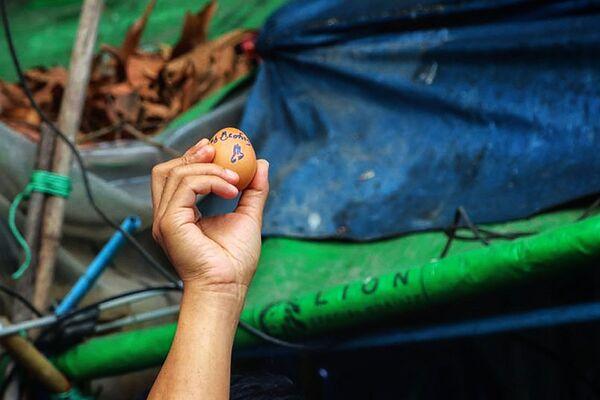 Esta foto muestra a un manifestante que sostiene un huevo decorado con un mensaje en apoyo a los manifestaciones contra el golpe militar durante una protesta en la parroquia de Insein, en Rangún, que coincidió con el Domingo de Pascua. - Sputnik Mundo