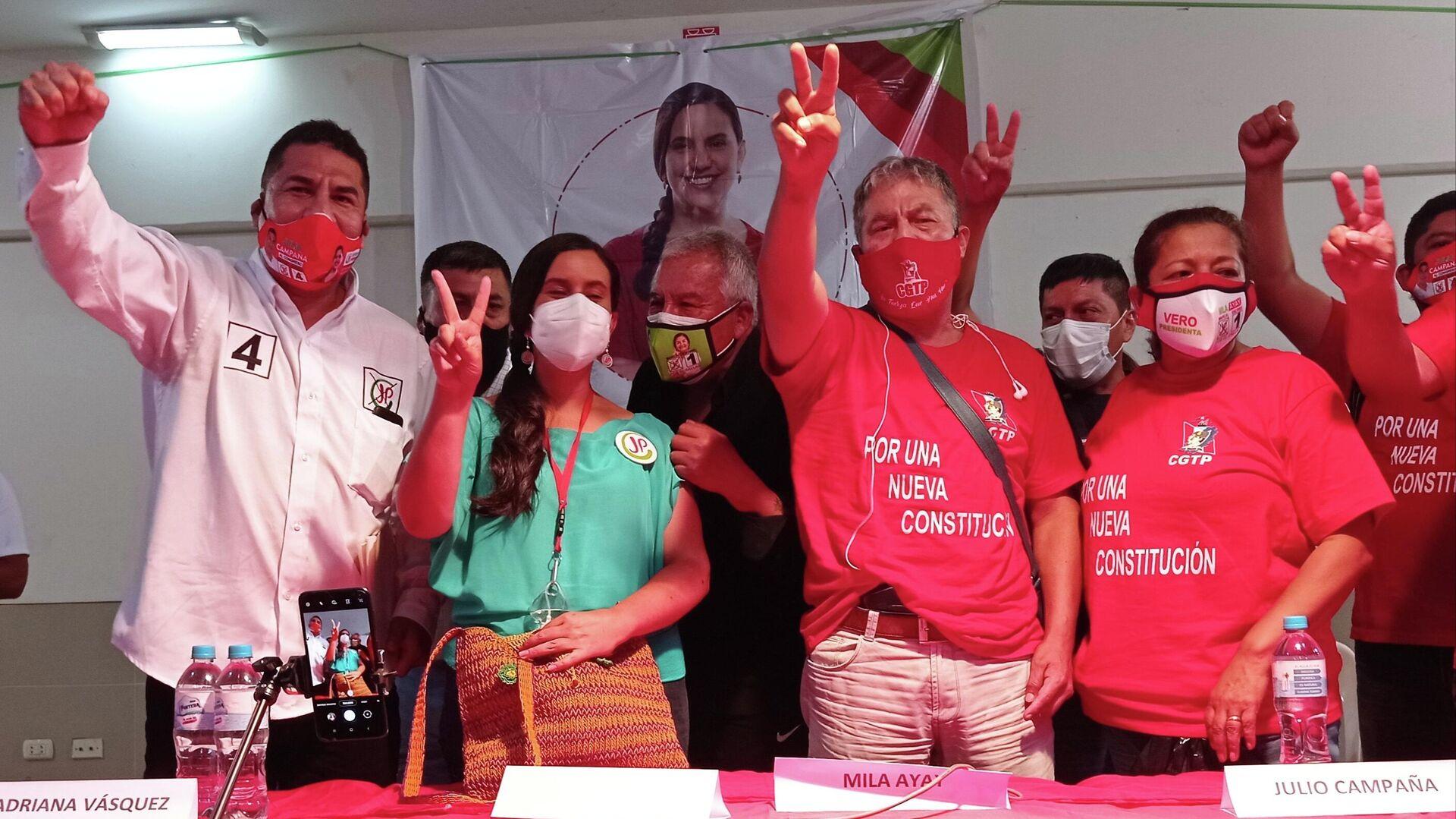 Verónika Mendoza se reunió con organizaciones sociales de Callao, municipio lindero de la capital, Lima - Sputnik Mundo, 1920, 06.04.2021