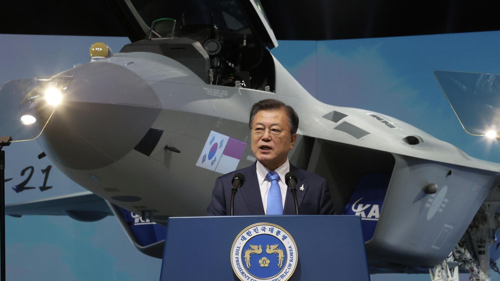 Moon Jae-in, presidente de Corea del Sur, presenta el KF-21, el primer caza de fabricación nacional - Sputnik Mundo, 1920, 10.04.2021