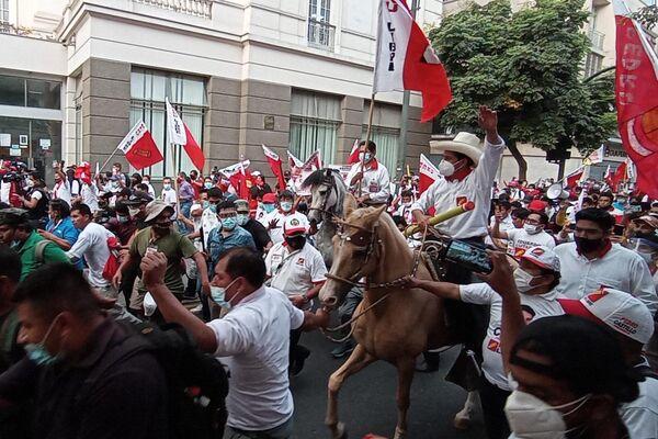 Pedro Castillo, candidato a la presidencia por Perú Libre, en su cierre de campaña electoral - Sputnik Mundo