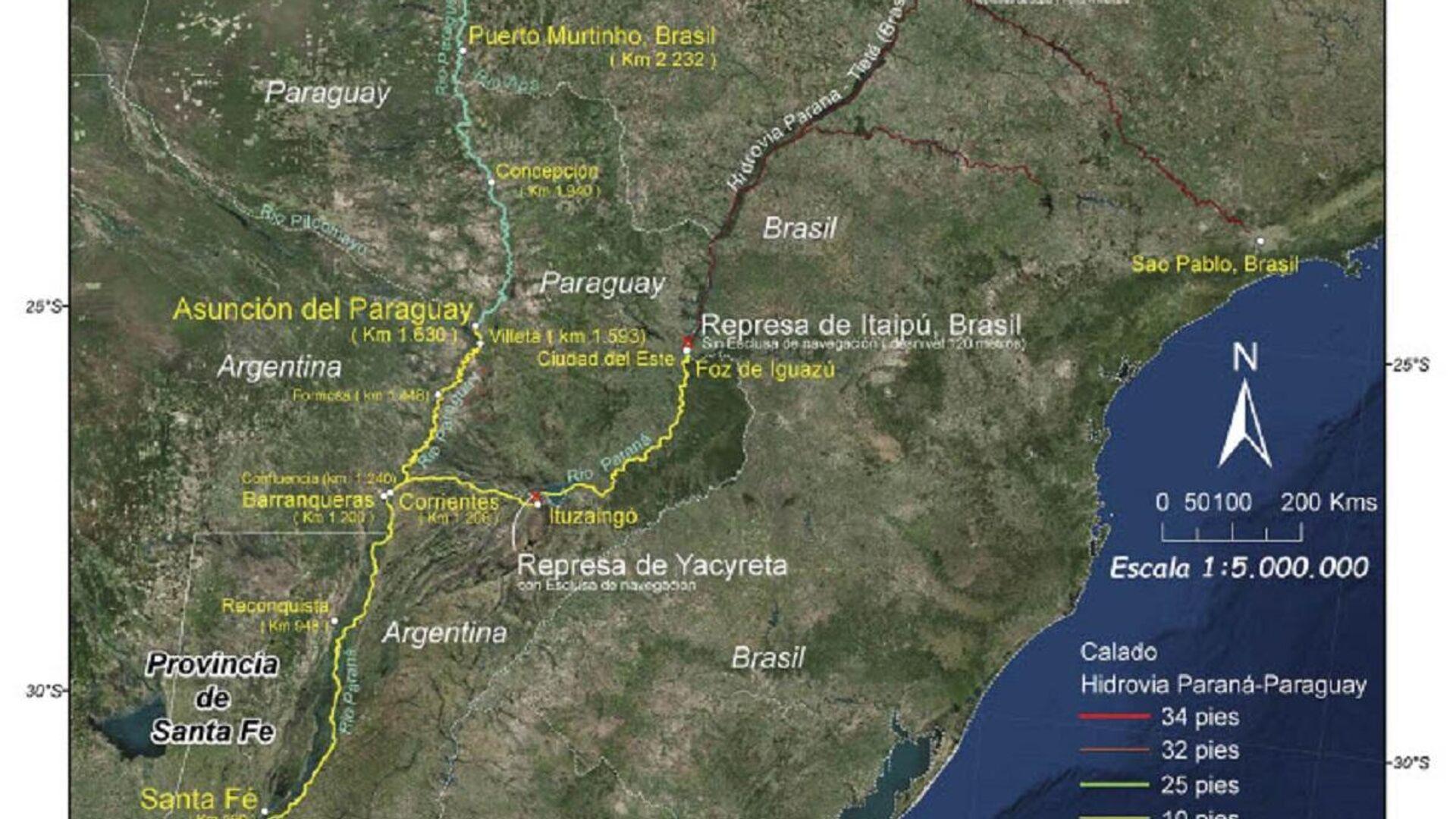 Mapa de la Hidrovía Paraná - Paraguay - Sputnik Mundo, 1920, 10.04.2021