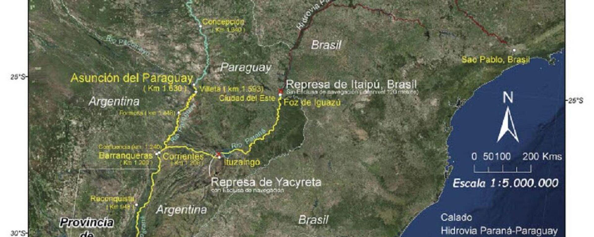 Mapa de la Hidrovía Paraná - Paraguay - Sputnik Mundo, 1920, 29.06.2021