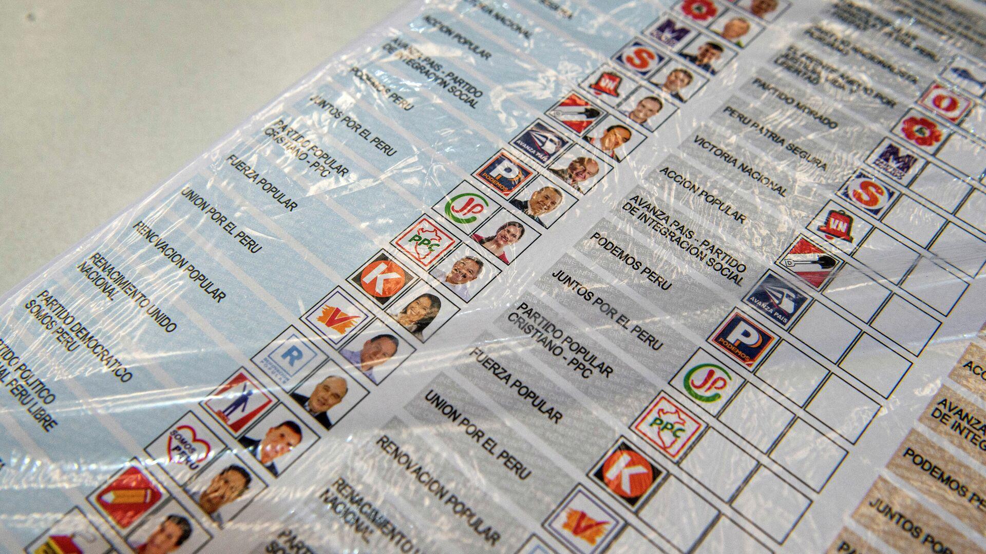 Una papeleta para las elecciones del 11 de abril en Perú - Sputnik Mundo, 1920, 10.04.2021