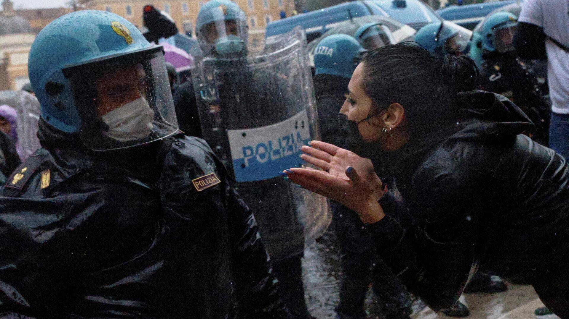 Protestas contra las restricciones por COVID-19 en Italia, el 12 de abril de 2021 - Sputnik Mundo, 1920, 12.04.2021