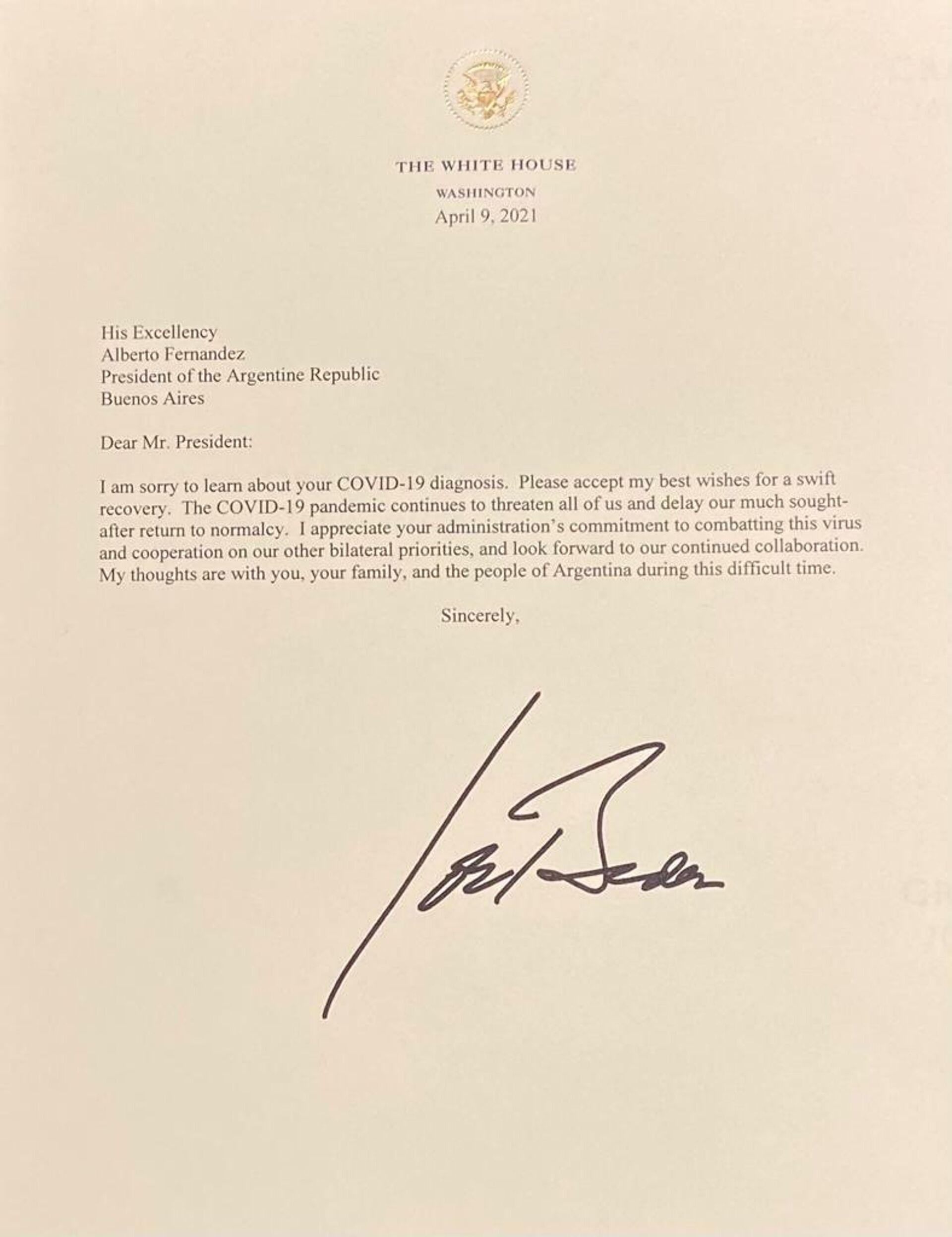 Carta de Joe Biden con deseos de pronta recuperación del COVID-19 para Alberto Fernández - Sputnik Mundo, 1920, 14.04.2021