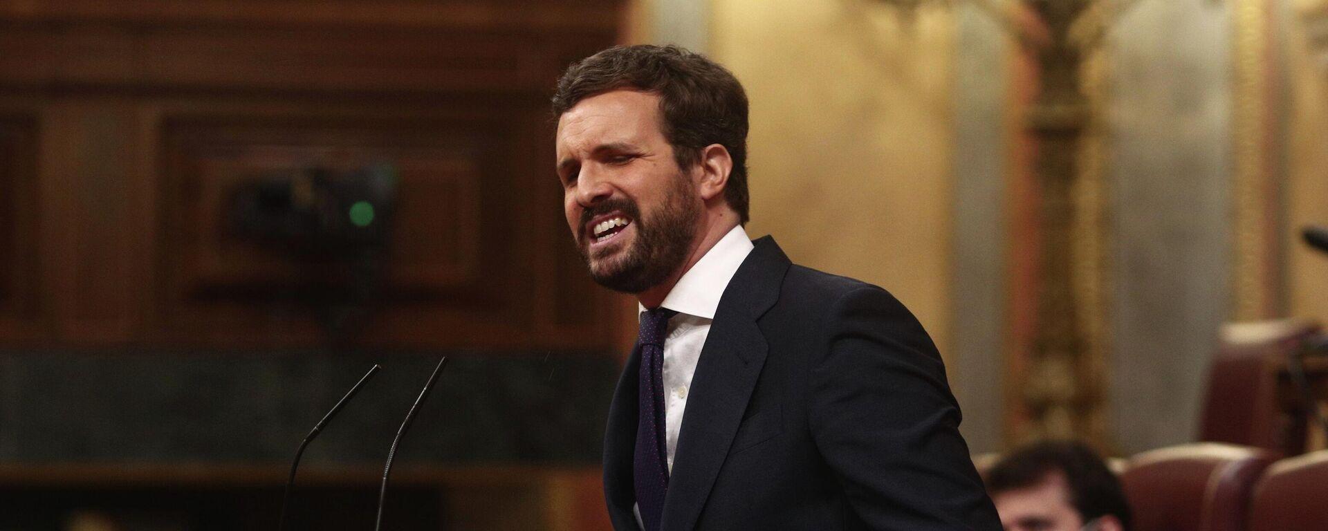 El líder del PP, Pablo Casado, en el Congreso de los Diputados. 14 de abril de 2021 - Sputnik Mundo, 1920, 21.06.2021