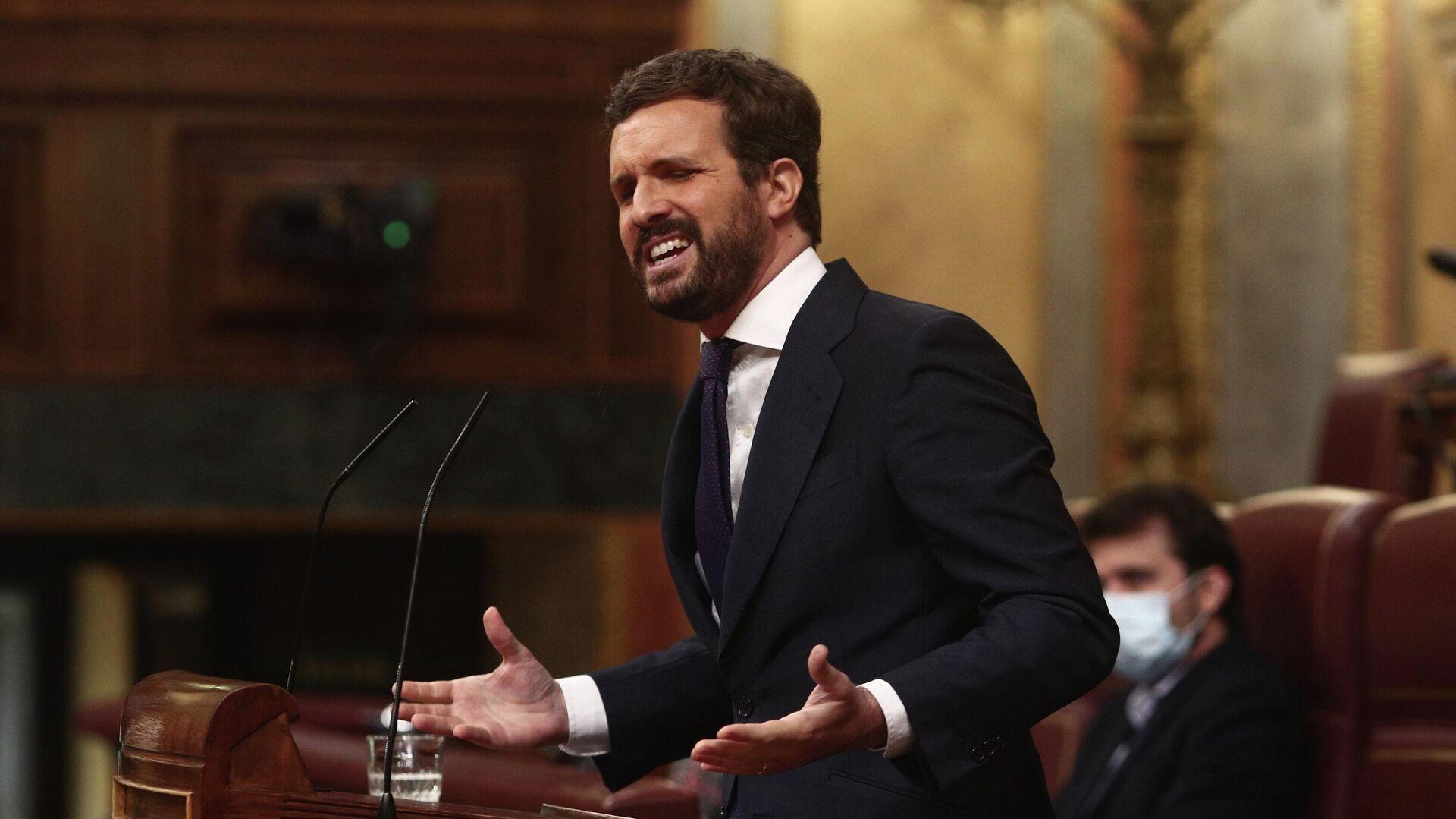 El líder del PP, Pablo Casado, en el Congreso de los Diputados. 14 de abril de 2021 - Sputnik Mundo, 1920, 14.04.2021