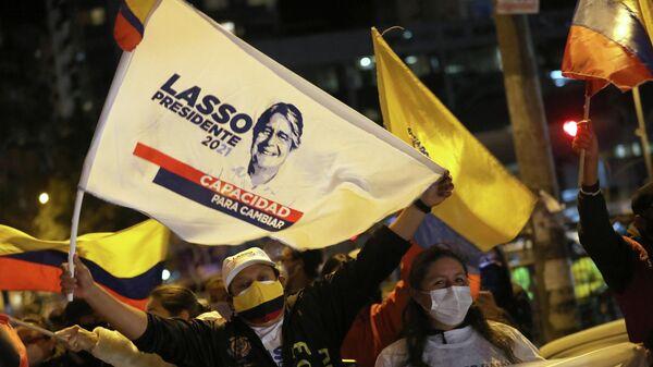Partidarios de Guillermo Lasso, presidente electo de Ecuador - Sputnik Mundo