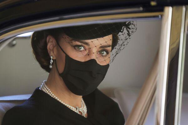La duquesa de Cambridge llega al funeral del príncipe Felipe.  - Sputnik Mundo