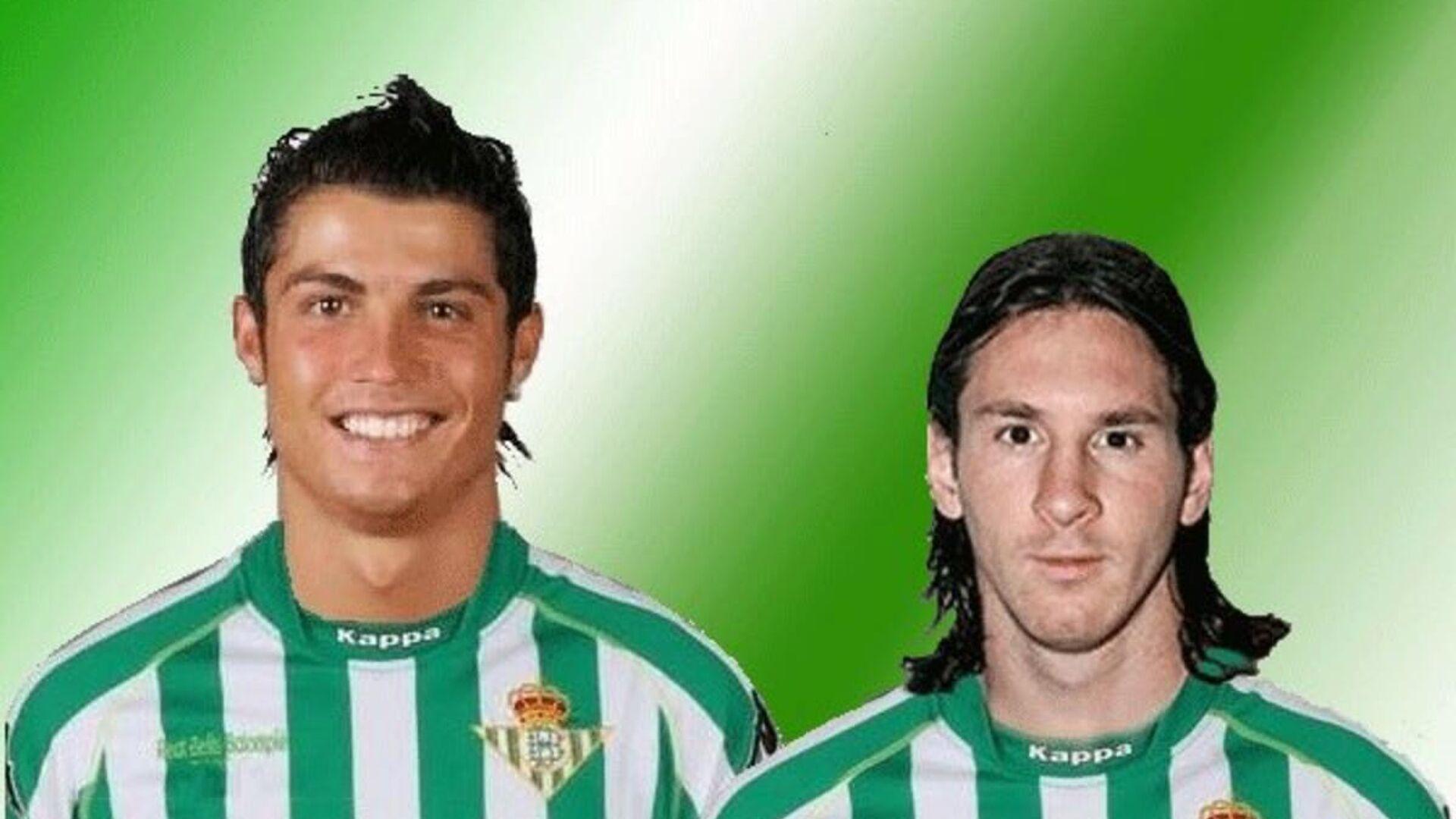 Los futbolistas Cristiano Ronaldo y Lionel Messi con el uniforme del equipo de fútbol español Real Betis Balompié (meme) - Sputnik Mundo, 1920, 20.04.2021