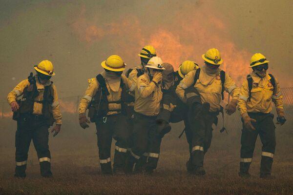 Un bombero herido durante la extinción del incendio forestal en Ciudad del Cabo. - Sputnik Mundo