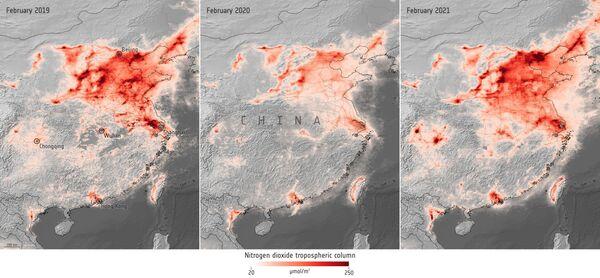 Nitrógeno sobre China en febrero de 2019, febrero de 2020 y febrero de 2021 - Sputnik Mundo