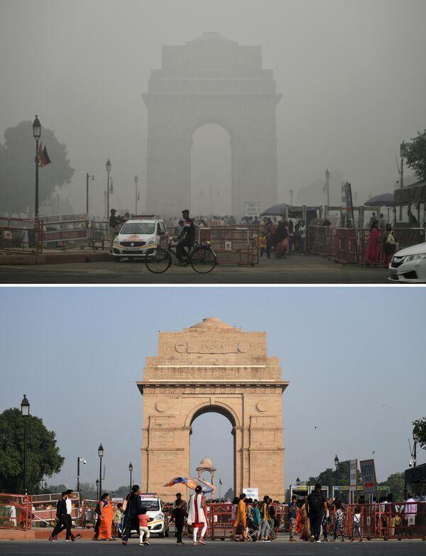 Contaminación en el aire en India antes y después de las cuarentenas establecidas por la pandemia - Sputnik Mundo