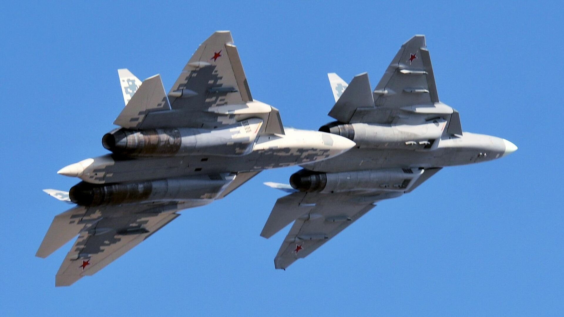 Dos cazas Su-57 de las Fuerzas Aeroespaciales de Rusia - Sputnik Mundo, 1920, 21.04.2021