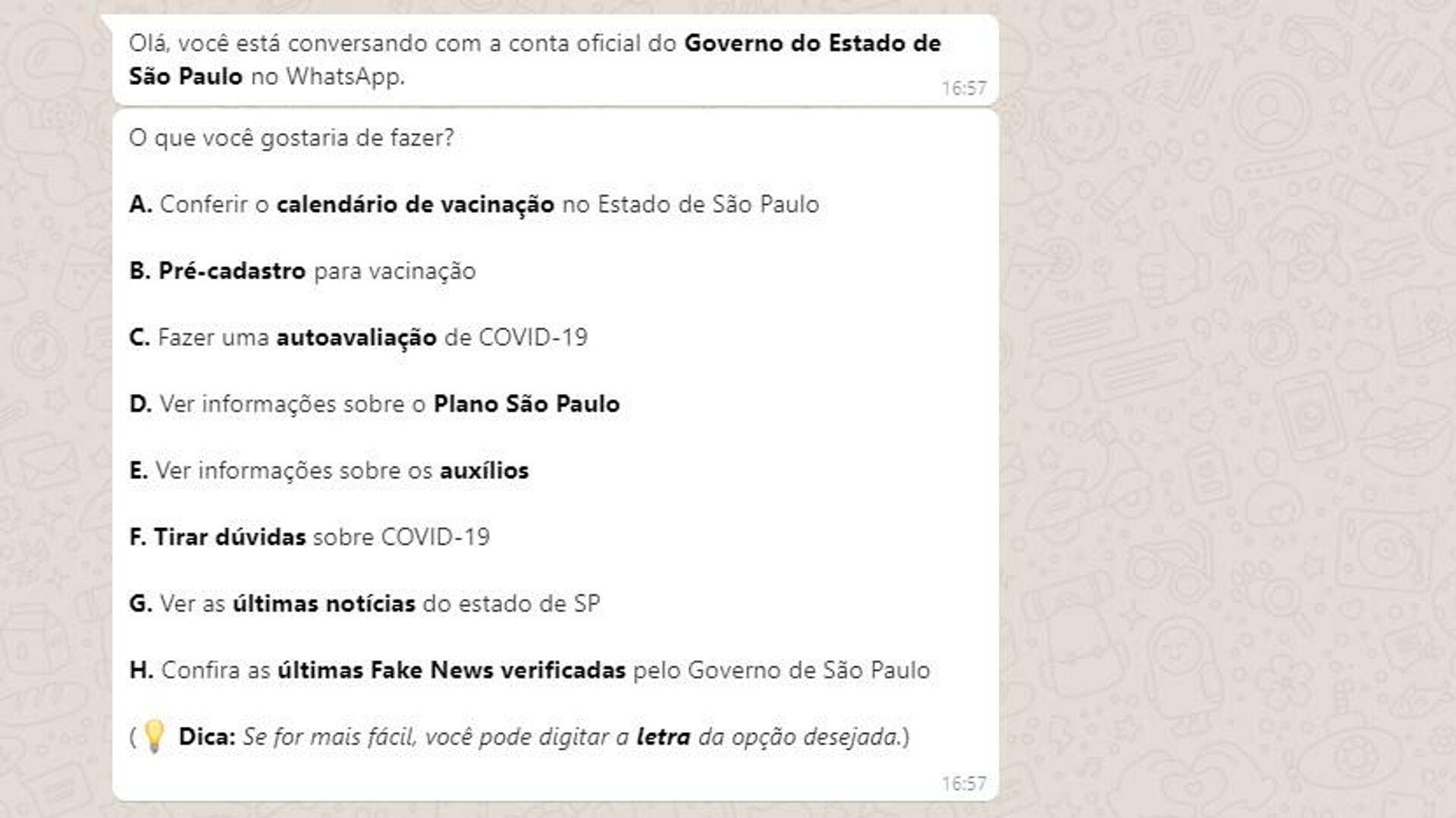 Opciones brindadas chatbot del Gobierno de Sao Paulo para atender consultas sobre el COVID-19 - Sputnik Mundo, 1920, 21.04.2021