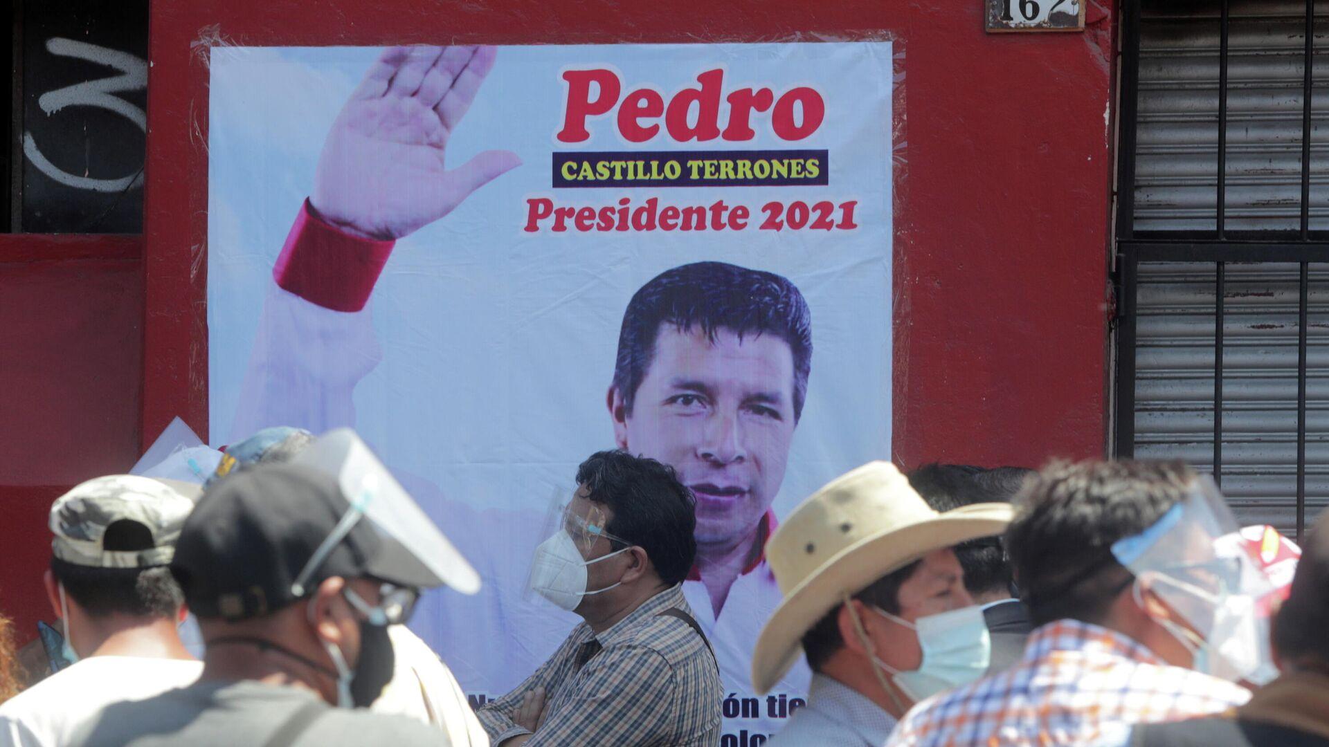 Pancarta de Pedro Castillo, candidato a la presidencia de Perú - Sputnik Mundo, 1920, 21.04.2021