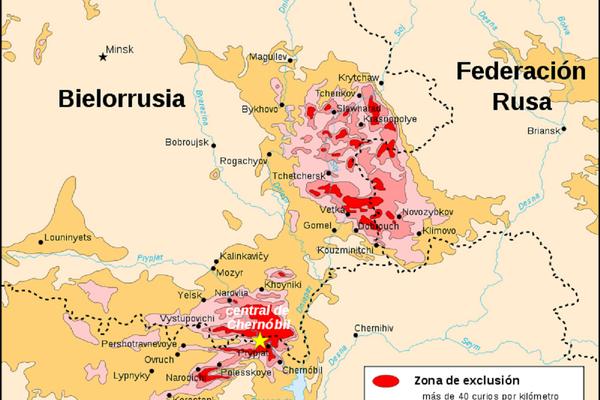 Mapa de las zonas afectadas por el desastre nuclear de Chernóbil - Sputnik Mundo