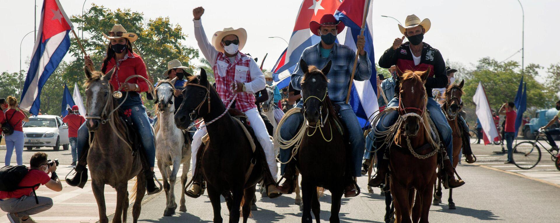La manifestación contra el bloqueo de EEUU en Santa Clara, Cuba - Sputnik Mundo, 1920, 26.04.2021