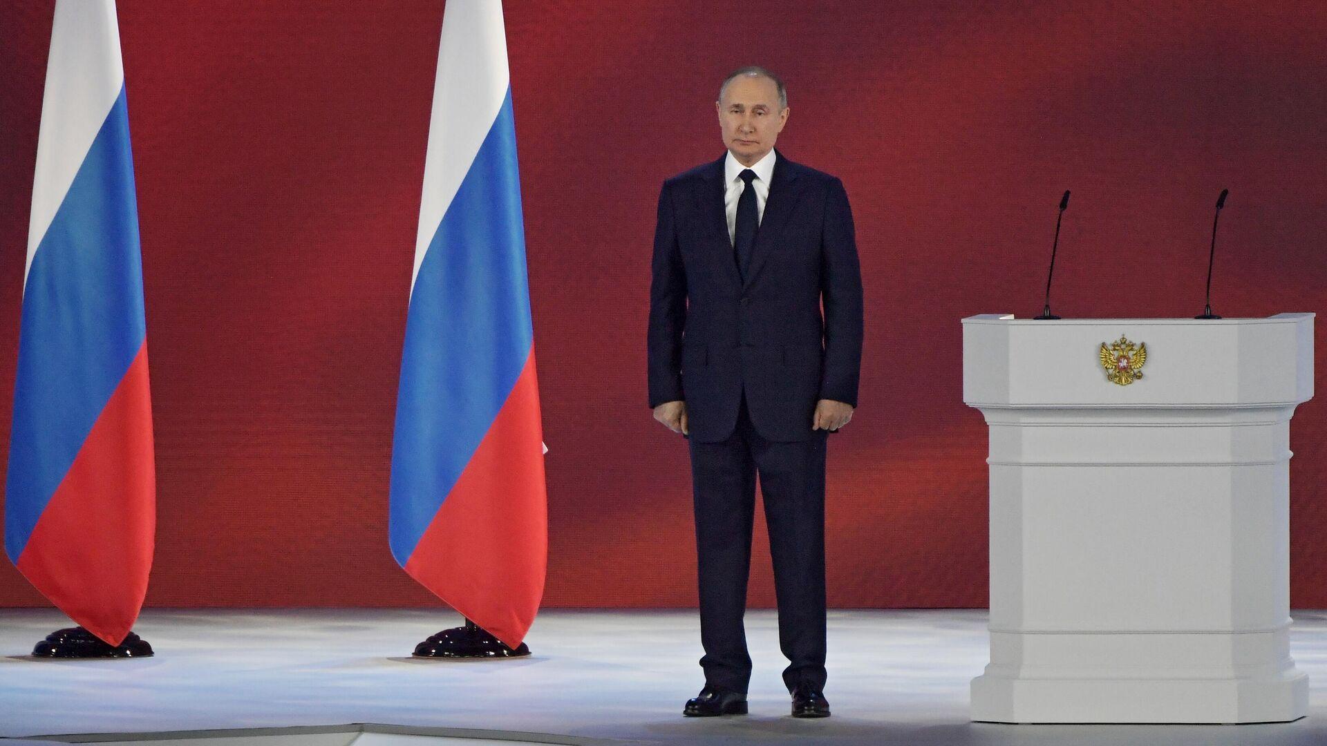 El presidente de Rusia, Vladímir Putin, durante su mensaje anual a la Asamblea Federal - Sputnik Mundo, 1920, 21.04.2021