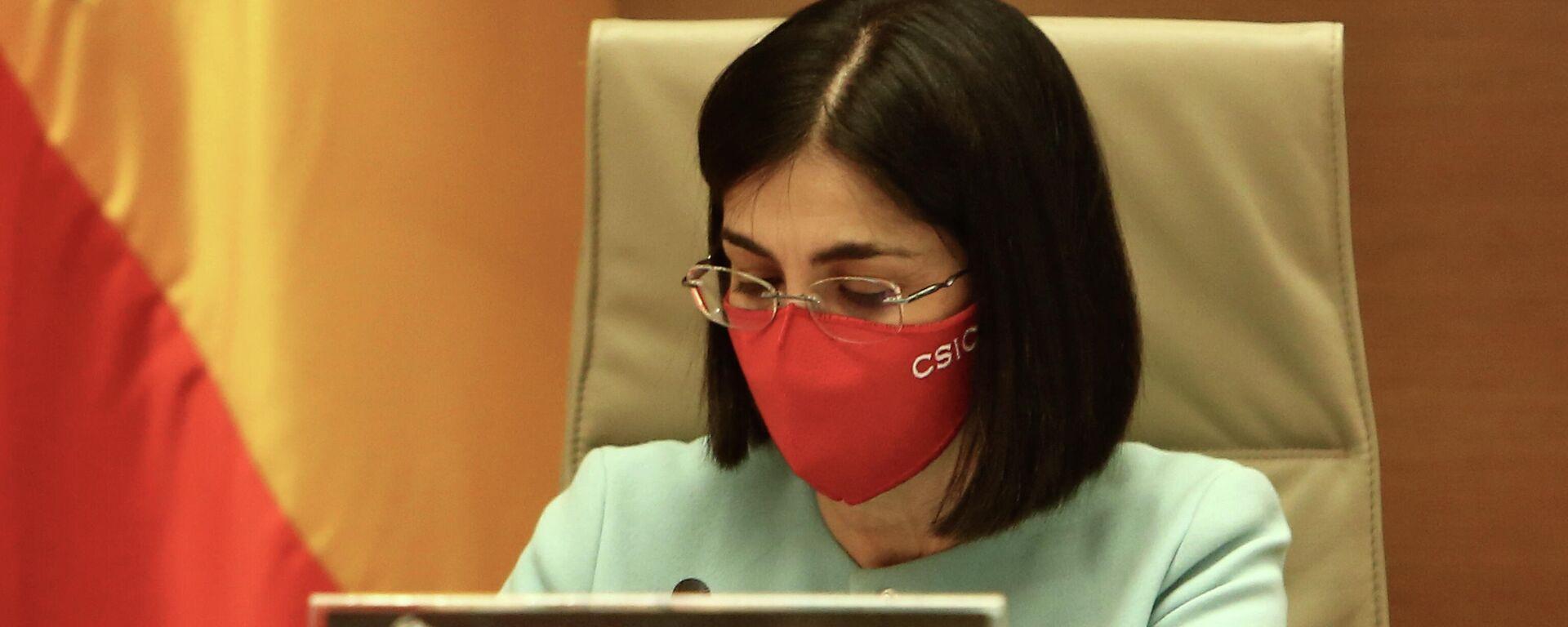 La ministra de Sanidad, Carolina Darias, durante la Comisión de Sanidad del Congreso del 25 de marzo de 2021 - Sputnik Mundo, 1920, 29.04.2021
